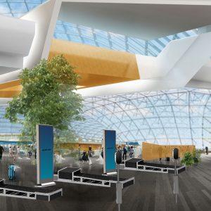 Rendering of future airport security design.
