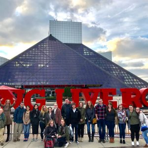 Museum studies students at the Rock and Roll Hall of Fame.