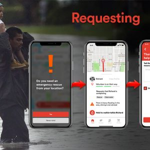 A stranded family requests a rescue and drop-off at a safe location through the app