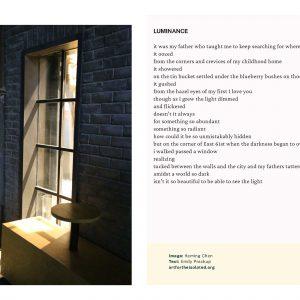 Luminance poem and photo
